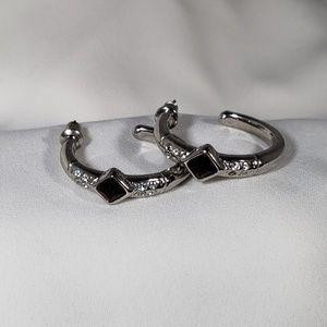 Silver Amethyst Swarovski Hoop Earrings